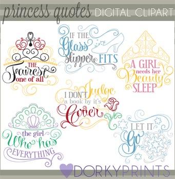 Swirly Princess Sayings Clip Art