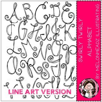 Swirly Twirly Alphabet by Melonheadz LINE ART
