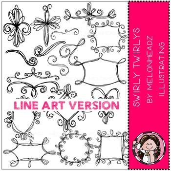 Swirly Twirlys clip art - LINE ART- by Melonheadz