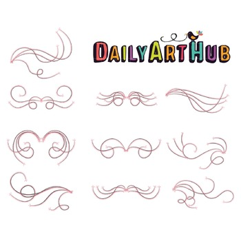 Swirly Wedding Designs Clip Art - Great for Art Class Projects!
