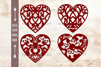 Swirly patterned Heart Hearts bundle paper cut out laser cut svg dxf  templates