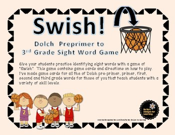Swish Dolch Preprimer to 3rd Grade Words Basketball Game