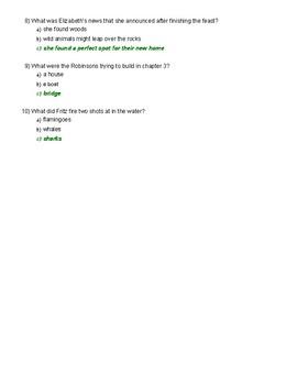 Swiss Family Robinson Chapter 1-3 quiz