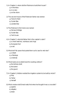 Swiss Family Robinson Chapter 4-7 Quiz
