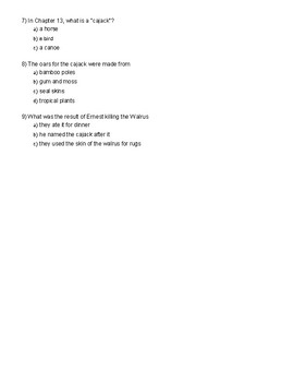 Swiss Family Robinson Chapters 11-13 test