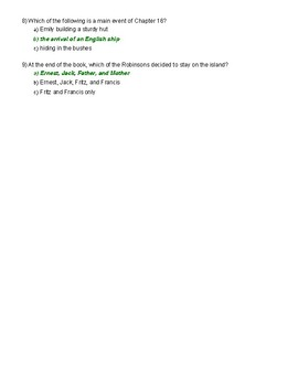Swiss Family Robinson Chapters 14-16 test
