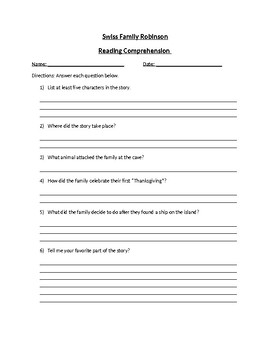 Swiss Family Robinson - Reading Comprehension