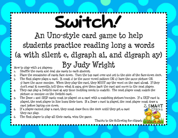 Switch!  A Long A Phonics Card Game