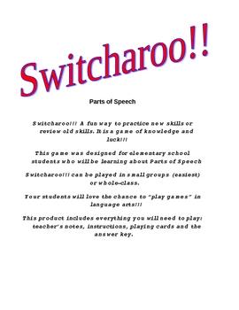 Switcharoo-Parts of Speech Activity