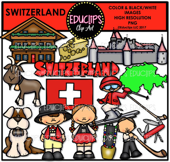 Switzerland Clip Art Bundle {Educlips Clipart}