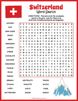 Switzerland Word Search Puzzle