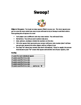 Swoop!  Math Game