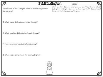 Sybil Ludington Differentiated Reading Passages & Questions