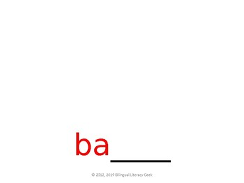 SyllaBits Spanish Silabas Ba, be, bi, bo, bu Syllable Slideshow Silabas Abiertas