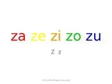 SyllaBits Spanish Za, ze, zi, zo, zu Syllable Slideshow Silabas Abiertas