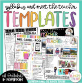 Syllabus and Meet the Teacher Editable Infographic Templates Bundle