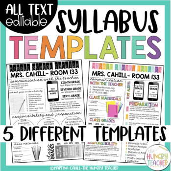 Auto Bill Of Sale Template >> Syllabus and Meet the Teacher Editable Infographic Templates Bundle