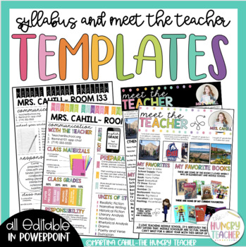 Syllabus and Meet the Teacher Editable Infographic Templates Bundle