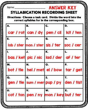 Syllabication Literacy Center