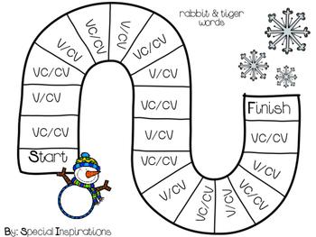 Syllabication Activities/Literacy Centers (VC/CV, V/CV, VC/V) Winter Themed