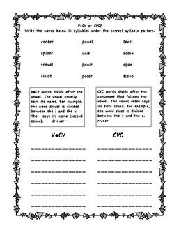 Syllable Division Practice V-CV or CVC for Spalding Teachers