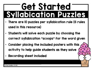 Syllabication Puzzle Practice - 6 Rules for 2 Syllable Words