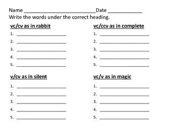 Syllabication Rules Pilgrim Bear Theme