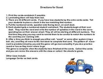 Syllabication Scoot- 32 Task Cards-Number of Syllables -Fall Theme