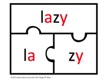 Syllabication Word Puzzles (VC/Cy and V/CV Packs)