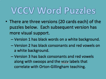 Syllabication Word Puzzles (VCCV and VC/CVE Packs)