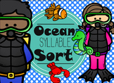 Syllable Activity word and picture Sort-Ocean Theme