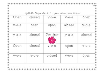 Syllable Bingo (All 6 syllable types!):: Updated & Improved!