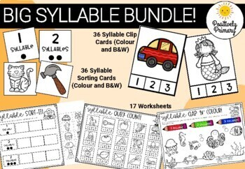 Syllable Bundle - Sorting Cards, Clip Cards, Worksheets