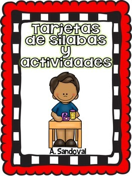 Syllable Cards and Activities in Spanish -RED Background Sílabas