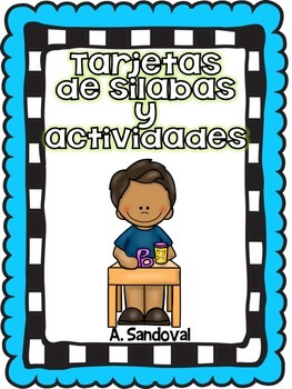 Syllable Cards and Activities in Spanish -BLUE Background Sílabas