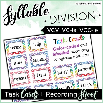 Syllables Task Cards { MINI BUNDLE } | VCCV| VCV| Final Stable Syllables|