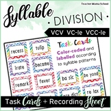 Syllables Task Cards - VCV pattern and Final Stable Syllables