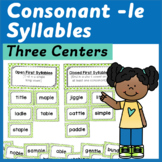 Syllable Centers: Consonant -le Sort, Game and Word Buildi