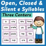 Open, Closed, and Silent e Syllable Centers, Sorts and Wor