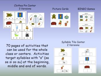 Syllable Centers - sa se si so su