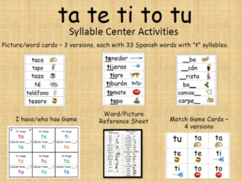 8 letter words starting with te syllable centers ta te ti to tu by dual language kinder 16978