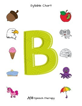 Syllable Charts for Speech Therapy