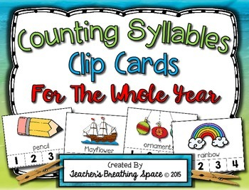 Syllable Clip Cards --- Monthly Syllable Counting for the