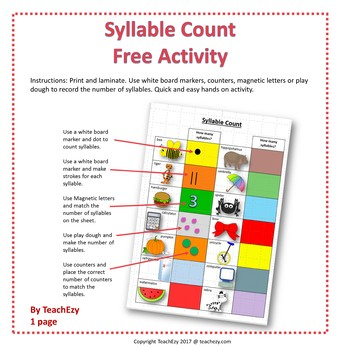 Syllable Count Free Resource