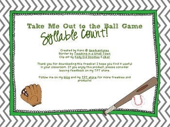 Syllable Count - Take Me Out to the Ball Game!