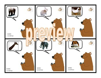 Syllable Counting Literacy Center Cards  - 54 cards