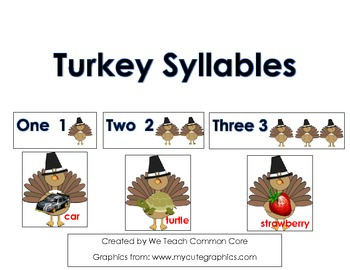 Syllable Counting Thanksgiving Turkeys Literacy Center Activity