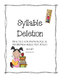 Syllable Deletion Practice - Phonological Awareness Skills Test - #7