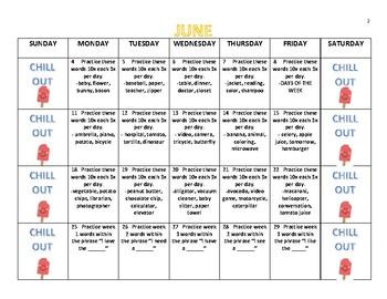 Syllable Deletion Summer Homework Calendar