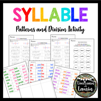 Syllable Patterns and Division Activities for 1st